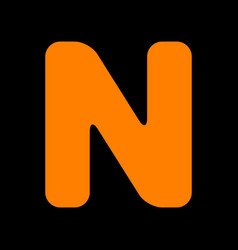 Letter n sign design template element orange icon vector