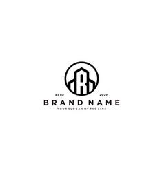 Letter r and building logo design vector