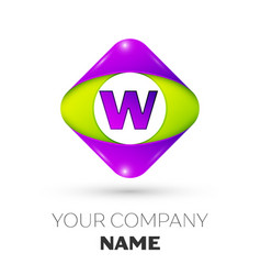 Letter w logo symbol in colorful rhombus vector