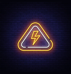 lightning bolt neon sign design template vector image