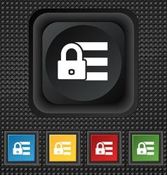 Lock login icon sign symbol Squared colourful vector