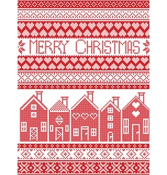 Merry Christmas card with Swedish houses vector image