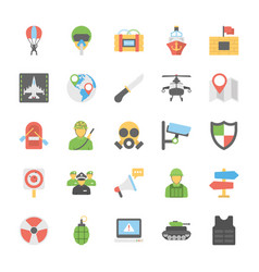 Military and weapons flat icons vector