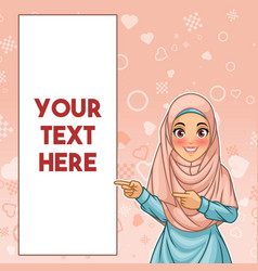 muslim woman pointing finger to the right side vector image