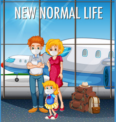 new normal life with happy family ready to travel vector image