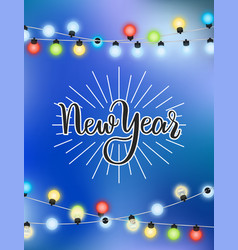 new year lettering winter holiday garland card vector image