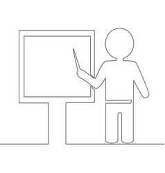 One continuous line tutor pointing at blackboard vector