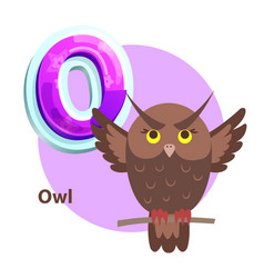 Owl for o letter cartoon alphabet for children vector