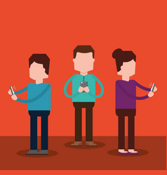 people standing together using smartphone vector image