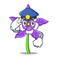Police columbine flower character cartoon vector