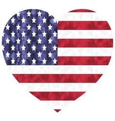Poly art american flag in heart shape on white vector