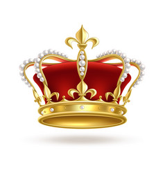 Realistic golden crown 3d elegant queen or vector