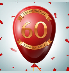 red balloon with golden inscription sixty years vector image