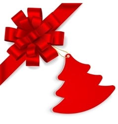 Red bow with christmas tree vector