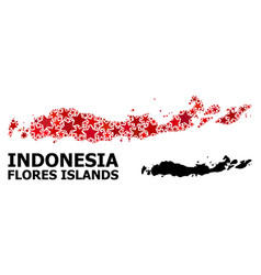 Red starred pattern map indonesia - flores vector