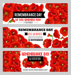 Remembrance day 11 november poppy banners vector