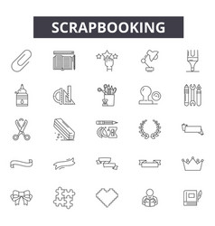 scrapbooking line icons signs set linear vector image