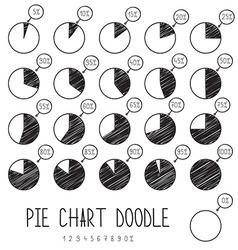 Set doodle segmented pie charts Sketch diagram vector