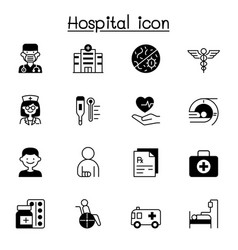 set hospital related icons contains such icons vector image