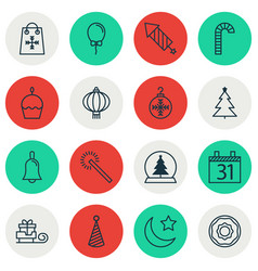 Set of 16 christmas icons includes birthday cake vector