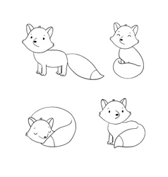 Set of cute little fox vector image