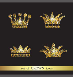set of gold crown icons vector image