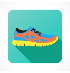 Shoes flat icon with bright colorful running vector image