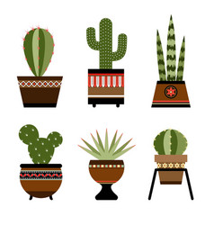 Six cactuses in pots with ornament vector