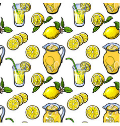 sketch style seamless pattern of lemon lemonade vector image