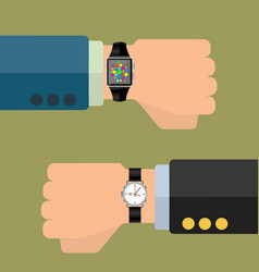 smart watch and analog watch on businessman hand vector image