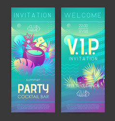 summer disco cocktail party poster with tropic vector image