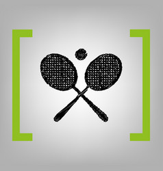 tennis racket sign black scribble icon in vector image