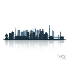 tokyo skyline silhouette with reflection vector image
