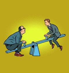 two business partner balance of a seesaw vector image