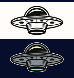 Ufo in two styles black and colored vector