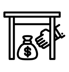 Under table money bag icon outline style vector