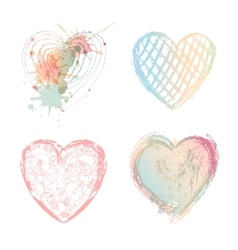 Valentines day set colorful hearts vector image