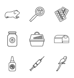 Veterinarian icons set outline style vector