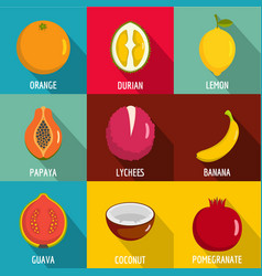 Vitamine in fruct icons set flat style vector
