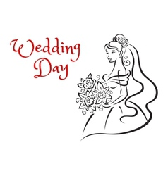Wedding day card template with young bride vector