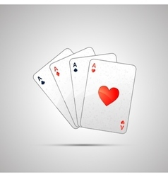 winning poker hand four aces vector image