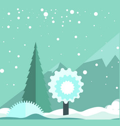 winter landscape with snowfall high mountains and vector image