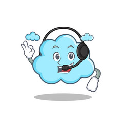 With headphone cute cloud character cartoon vector