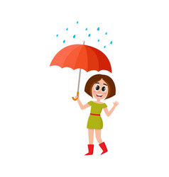 Woman stans keeping umbrella in hand vector