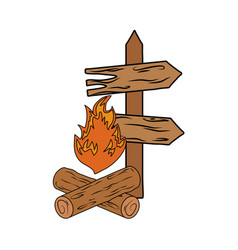Wooden arrow guide with campfire vector
