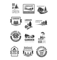 gardens and parks landscape design icons vector image