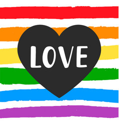 love gay pride emblem with hand written lettering vector image