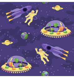 Seamless baby pattern Space adventure vector image vector image