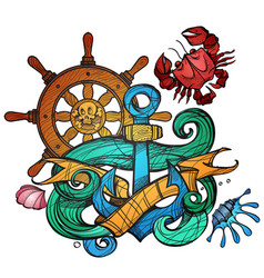 The ships anchor steering wheel and crab tattoo vector