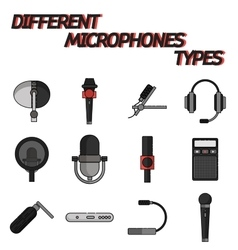 Different microphones types flat icon set vector image vector image